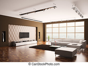 Living room interior 3d - Modern Living room with lcd and...
