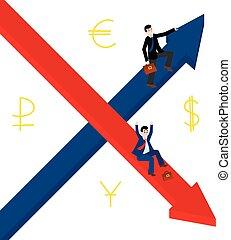 empresa / negocio, cima, hombres, Abajo, disminución, Hombres de negocios, flecha, Crecer, Crecimiento, Asimiento, rollo, señales