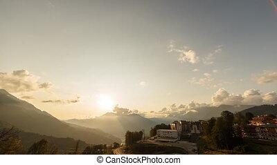 Sunset in the mountains. Zoom. Rosa Khutor. Sochi, Russia....