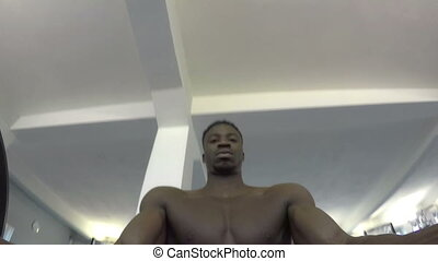 Gym - Black man trains in Gym