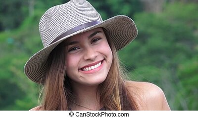 Smiling Teen Girl Wearing Hat