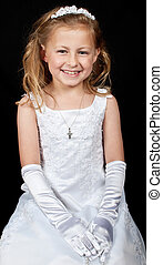 smiling young girl in white dress on black - photo smiling...