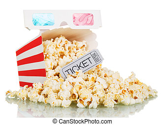 Loose popcorn in striped square box, a ticket to the cinema...