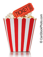 Popcorn in square box with movie tickets isolated on a white...
