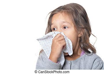 Sick little girl - Portrait of sick little girl holding...