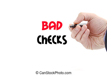 Bad checks text concept isolated over white background