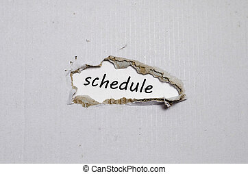 The word schedule appearing behind torn paper