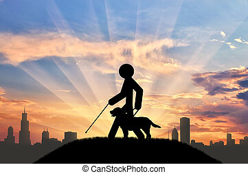Disabled blind with cane hold guide-dog sunset city - Icon...