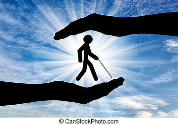 Blind disabled in hands day - Icon blind with cane in hands...