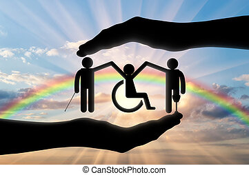 Disabled people holding hands icon in hand rainbow -...