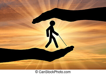 Blind disabled in hands sunset - Icon blind with cane in...