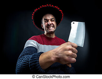 Psycho man with meat cleaver. - Angry psycho man in pullover...