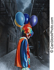 Clown with a bunch of balloons standing in alley. - Clown...