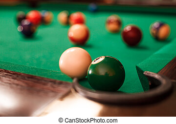 Above view on two billiard balls. - Above view on two...