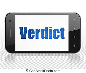 Law concept: Smartphone with Verdict on display