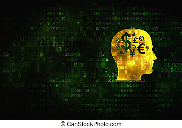 Education concept: Head With Finance Symbol on digital background