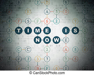 Time concept: Time is Now on Digital Data Paper background -...