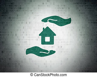 Insurance concept: House And Palm on Digital Data Paper...