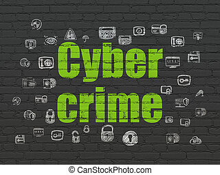 Protection concept: Cyber Crime on wall background -...