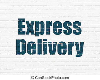 Business concept: Express Delivery on wall background -...