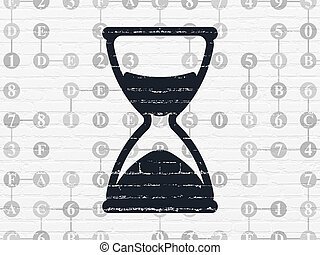Time concept: Hourglass on wall background - Time concept:...