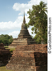 Ayutthaya - panorama view of ancient pagoda in Ayutthaya...