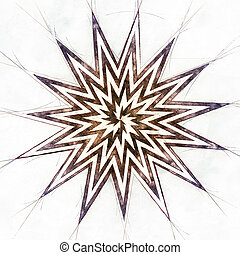 Sketch of a Star, 3D Illustration - Sketch of a more pointed...