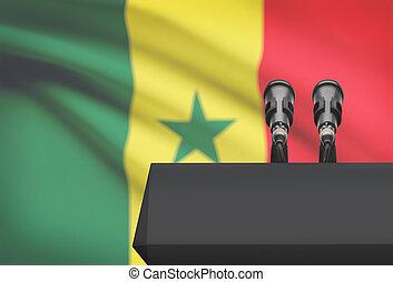 microfones, nacional, -, Senegal, dois, bandeira, púlpito,...