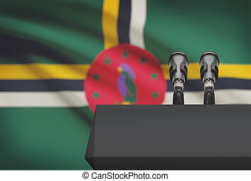 microfones, nacional, -, dois, bandeira, púlpito, fundo,...