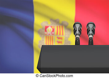 microfones, nacional, -, dois, Andorra, bandeira, púlpito,...