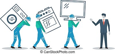 Delivery workers and manager, move in concept, vector...