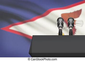 microfoni, Samoa, nazionale, -, due, bandiera, pulpito,...