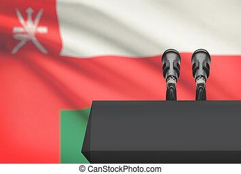 microfones, oman, nacional, -, dois, bandeira, púlpito,...
