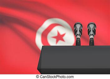 microfones, Tunísia, nacional, -, dois, bandeira, púlpito,...