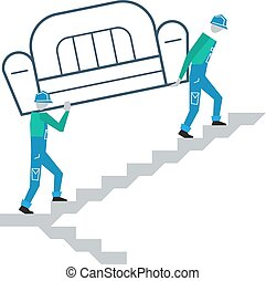 Delivery to door, go upstairs - Workers going upstairs,...