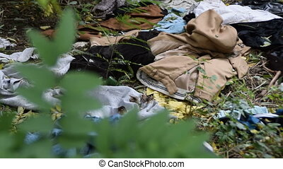 Garbage and ragged clothing