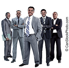 business team isolated on white - Confident African American...