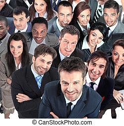 グループ, ビジネス, 人々, 隔離された, 背景, 白, 上に