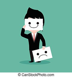 Businessman is smile and sadness, cartoon EPS10
