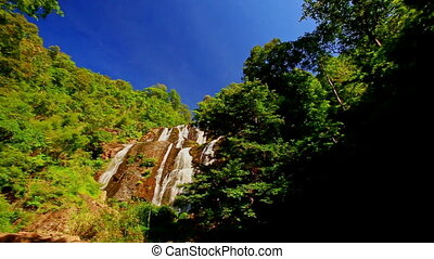 View of Forestry Hills Distant Waterfall against Blue Sky -...