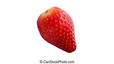 Close up Fresh Red Strawberry Fruit Isolated on White...