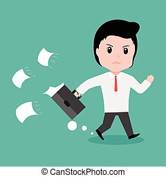 Businessman is running late time, cartoon vector.