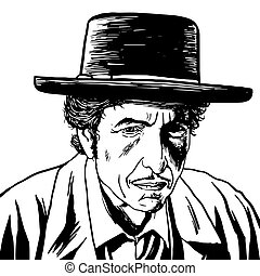 Bob Dylan Caricature Portrait Hand Drawing Vector...