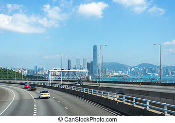 View of Hong Kong from the Stonecutters bridge
