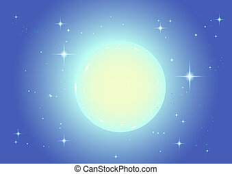 Large full moon in night star sky. Christmas background...