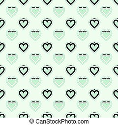 Green heart seamless pattern packaging paper background in...