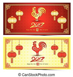 Chinese new year 2017 year of rooster card is rooster paper...