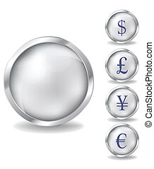Silver coins set Various variants of design