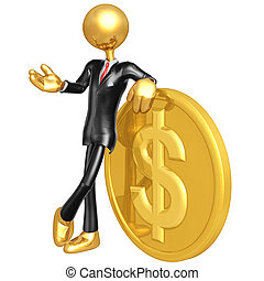 Businessman With Gold Coin - A Concept And Presentation...