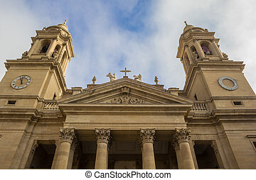 Historical cathedral in the center of Pamplona, Spain